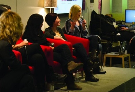 Last night's Girl Geeks Toronto panel discussing gender inequality in tech and digital work spaces. (From left) Ramona Pringle, Dr. Laurie Petrou, Ashley Lewis, Daniela Yanez, Lyndsay Kirkham, and moderator Nicole Bogart (Nicole Williams)